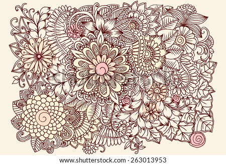 Doodle flowers in pastel colors - stock vector