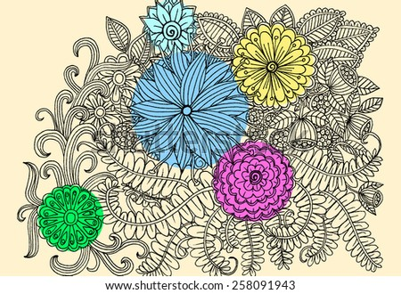 Doodle flowers. Vector floral illustration - stock vector