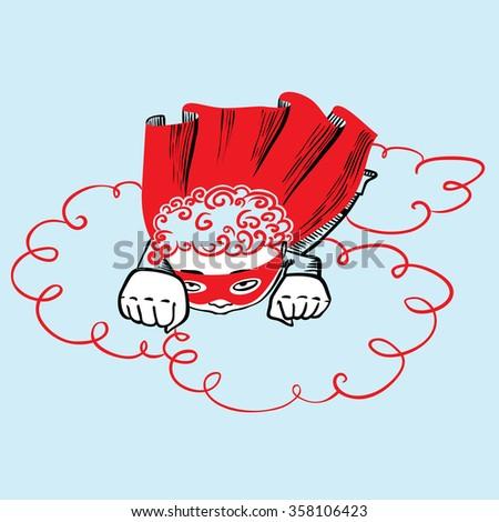 Doodle flying superhero boy - stock vector
