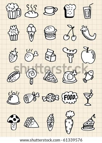 doodle food drink,hand draw - stock vector