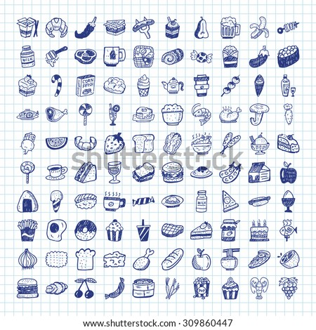 doodle food icons - stock vector