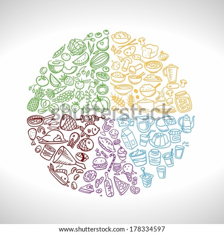 doodle food icons, eat well plate. vector illustration - stock vector