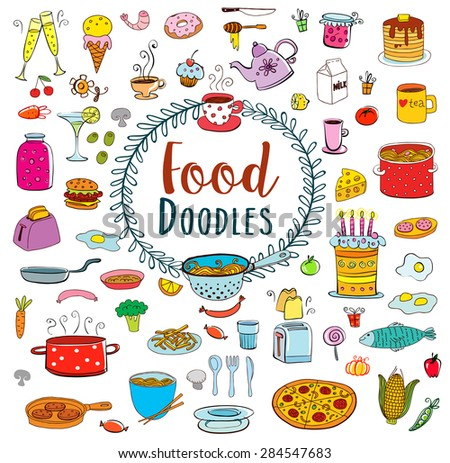 Doodle food set of 80 various products, fruits, vegetables and much more. - stock vector