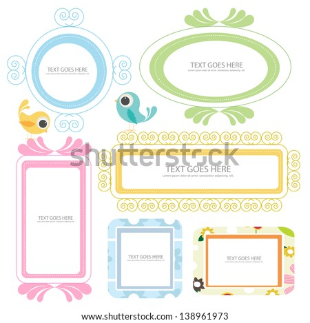 doodle frame with cute birds - stock vector