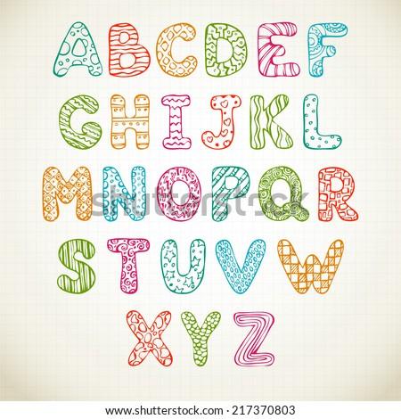 Doodle funny alphabet, hand drawn font set - stock vector