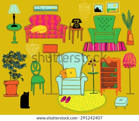 Doodle Furniture and Home Accessories - Hand drawn set of retro style furniture and accessories, including sofa, armchairs, bookshelf, house plant, crystal chandeliers, lamps and rugs - stock vector