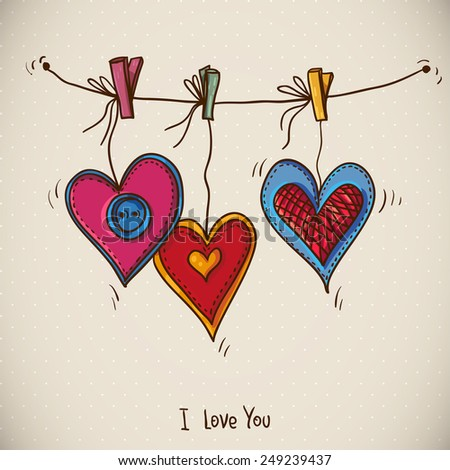 Doodle Greeting Card Valentine's Day with three hearts, vector illustration - stock vector