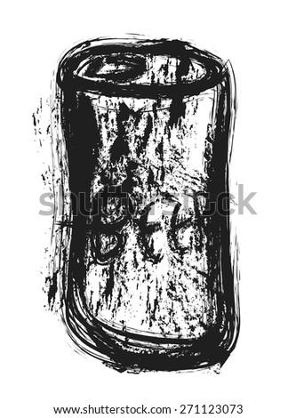 doodle grunge beer can, vector illustration art design element - stock vector