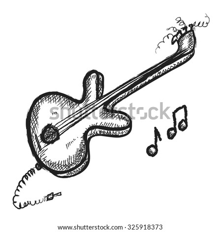 doodle guitar, vector illustration - stock vector