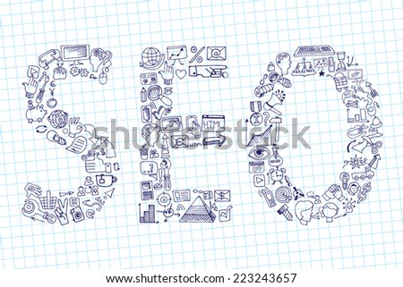 Doodle hand draw composition from word seo in sketchy seo  icons.Business concept on notepaper background. Vector illustration - stock vector