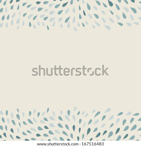 doodle hand-drawn background with borders of drops - stock vector