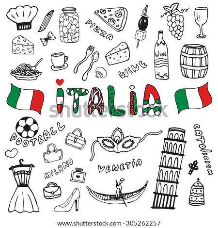 Doodle hand drawn collection of Italy icons. Italy culture elements for design. Vector travel set. Handwriting Italia lettering in italian language - Italy  - stock vector