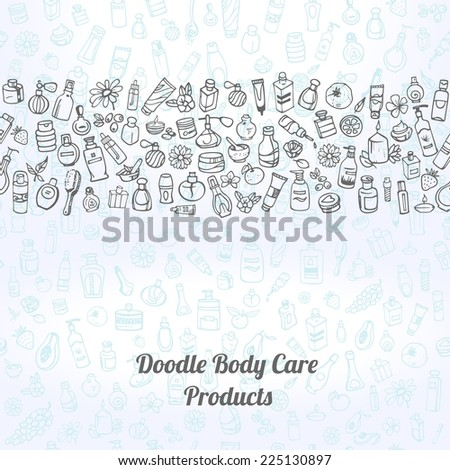 doodle hand drawn cosmetic and self care products background - stock vector