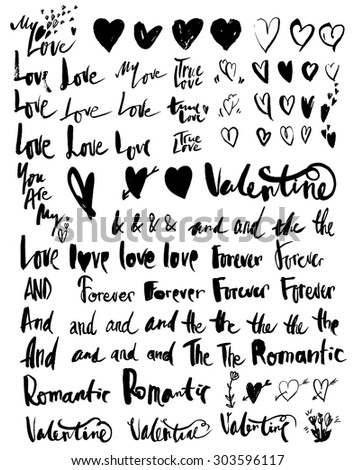 Doodle hand-drawn love and romance related writings and symbols - stock vector