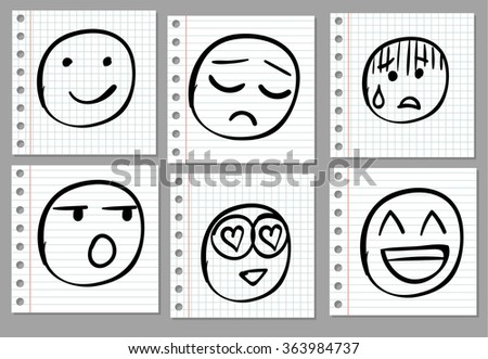 Doodle hand drawn smiles on notebook page. VECTOR illustration. Black - stock vector