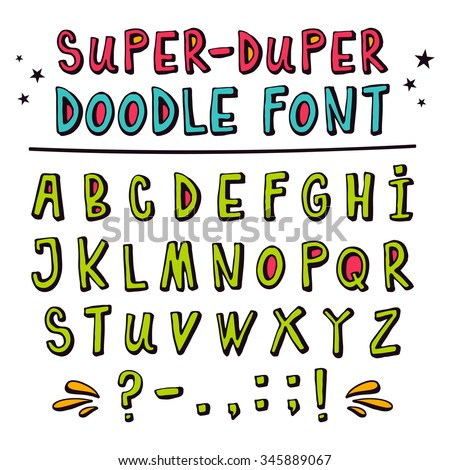 Doodle hand drawn vector font,  funny cartoon letters with punctuation marks, latin uppercase alphabet in childish style with 3D effect isolated on white - stock vector