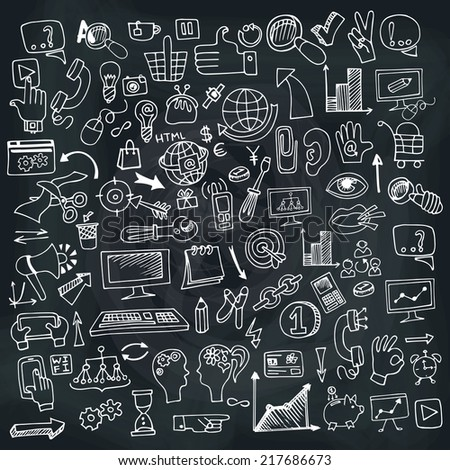 Doodle hand drown business seo sketchy icons on Chalckboard. Business concept . Vector illustration - stock vector