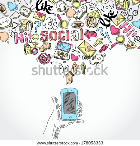 Doodle hand holding mobile smartphone with blog social media and communication applications symbols vector illustration - stock vector