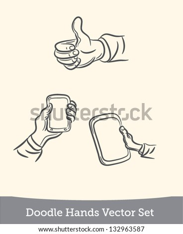 doodle hand holds the device set - stock vector