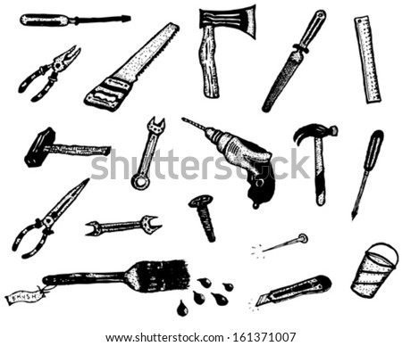 Doodle Hand Work Tool Equipment Icons/ Illustration of a set of do it yourself elements such hand drawn saw, nails, bolts, cutter, hammer and other tools  icons, isolated on white background - stock vector