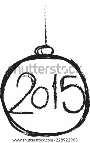 doodle happy new year 2015 - stock vector