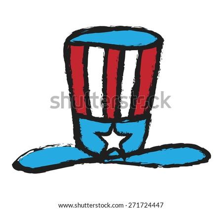 doodle hat in American flag color, vector design element - stock vector