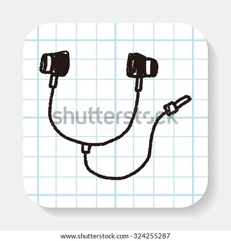 Doodle Headphone - stock vector