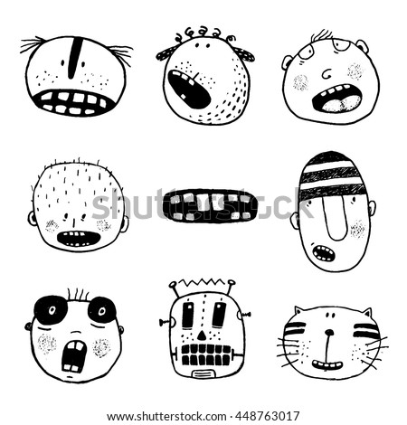Doodle Heads and Outline Cartoon Monster Face Emotions Collection. Linear style people mouth icon set. Cartoon style, different emotions and expressions. Vector monochrome outline illustration. - stock vector