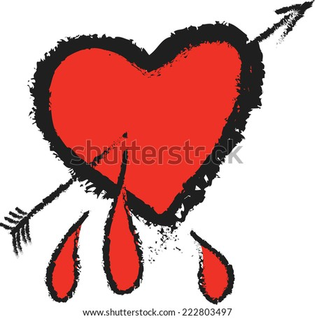 doodle heart and cupid arrow - stock vector