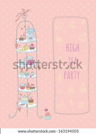 Doodle high tea party invitation. EPS 10. No transparency. No gradients. - stock vector