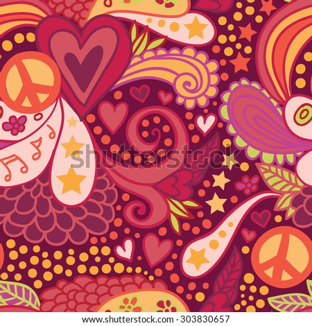 Doodle hippie seamless pattern. - stock vector