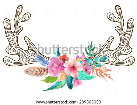Doodle horns with watercolor flowers and feathers, seamless pattern, Vector - stock vector