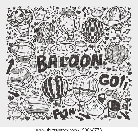 doodle hot air balloon elements - stock vector