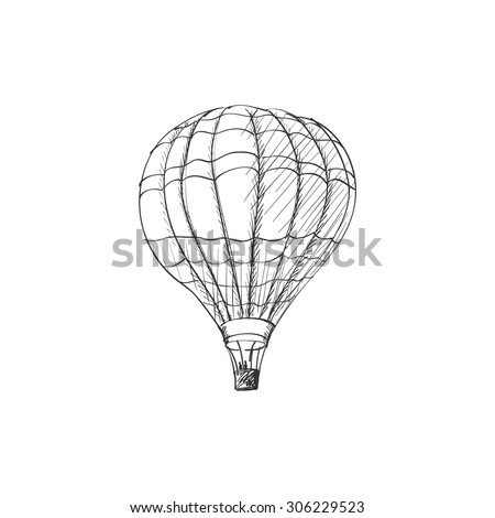doodle hot air balloon isolated on white background, excellent vector illustration, EPS 10 - stock vector