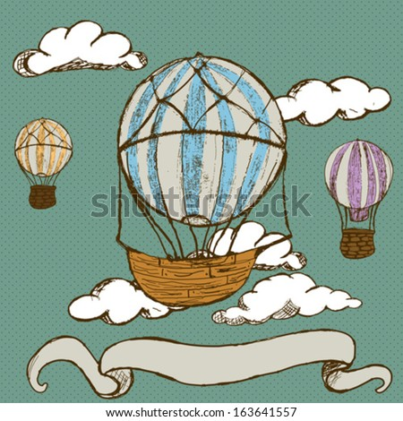 doodle hot air balloons with banner - stock vector