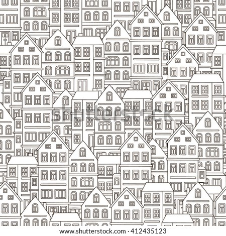 Doodle house. Vector seamless pattern with hand drawn building. Cute background with many homes. Black and white colors. Coloring page for adult and children. - stock vector