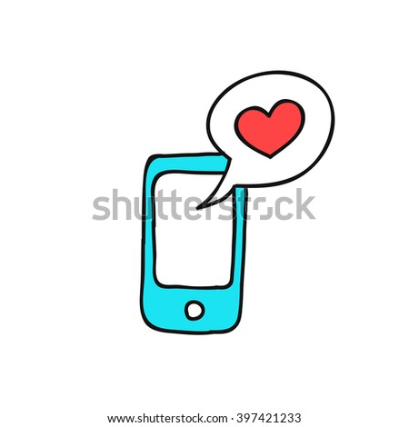 doodle icon. cellphone with love message. vector illustration - stock vector