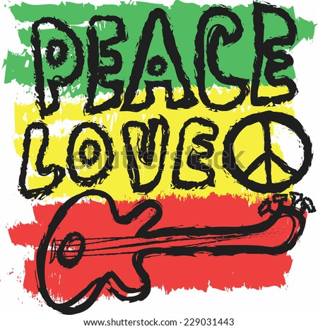 doodle icon grunge Peace, Love and Music, vector - stock vector