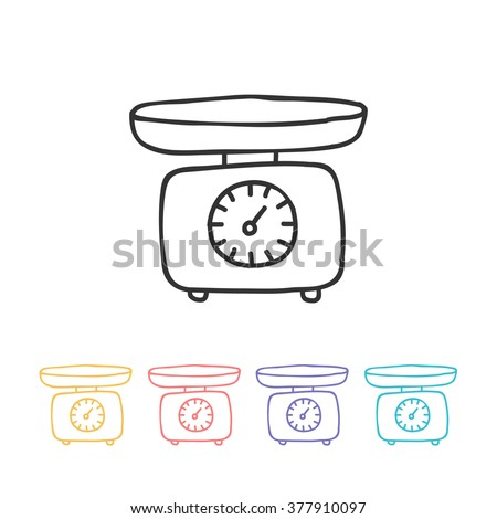 doodle icon. kitchen scales. vector illustration - stock vector