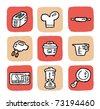 doodle icon set - kitchen appliances - stock vector