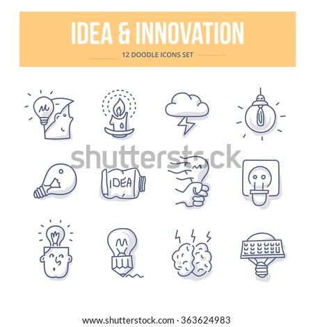 Doodle icons of generating new ideas, successful thinking, brainstorming, innovating - stock vector