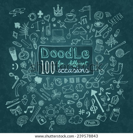 Doodle 100 Icons. Universal set on textured background. Vector - stock vector