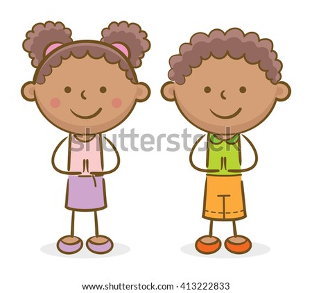 Doodle illustration: African kids making a greeting gesture and smiling - stock vector