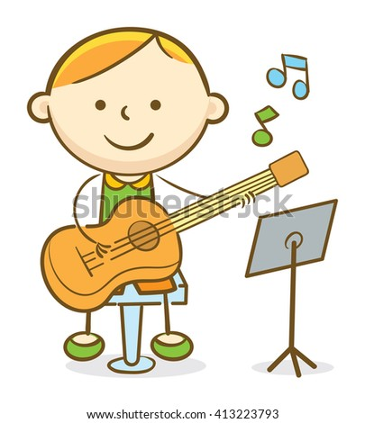 Doodle illustration: Boy playing a guitar - stock vector