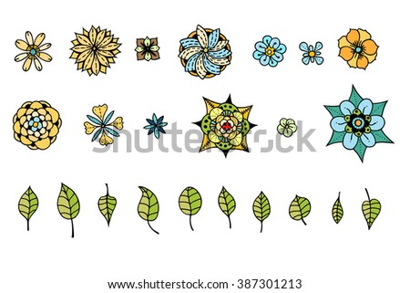 Doodle illustration collection with various flowers, leaves and butterflies. Floral scribble set. - stock vector