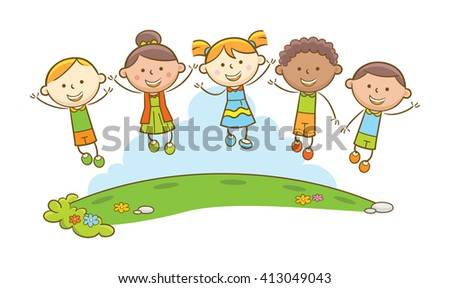 Doodle illustration: Happy kids on the field jumps! - stock vector