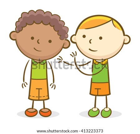 Doodle illustration: Kid telling a secret to another kid by whispering - stock vector