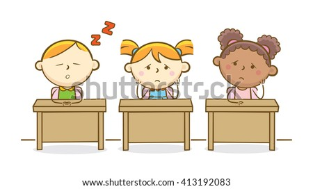Doodle illustration: Kids activity on a boring class - stock vector
