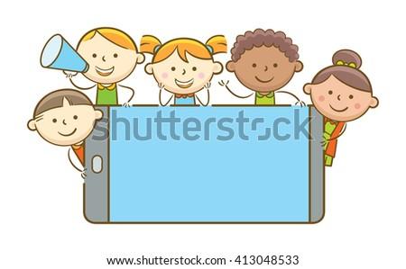 Doodle illustration: Kids holding blank screen mobile phone - stock vector