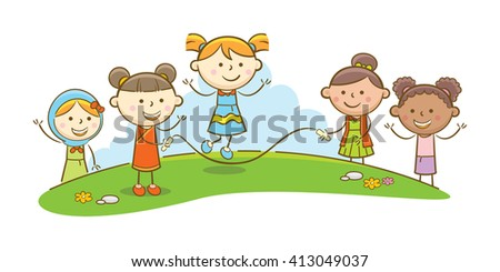 Doodle illustration: Kids playing jump rope - stock vector